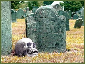 Grave and skull